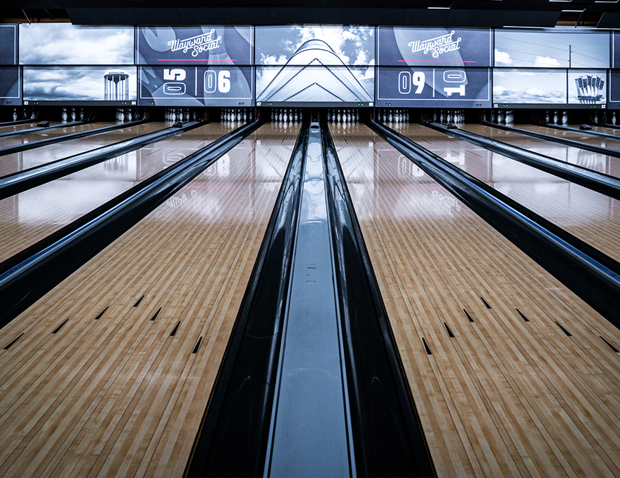 Bowling masking units designed by Project7 Design at Wayward Social in Marshalltown, Iowa