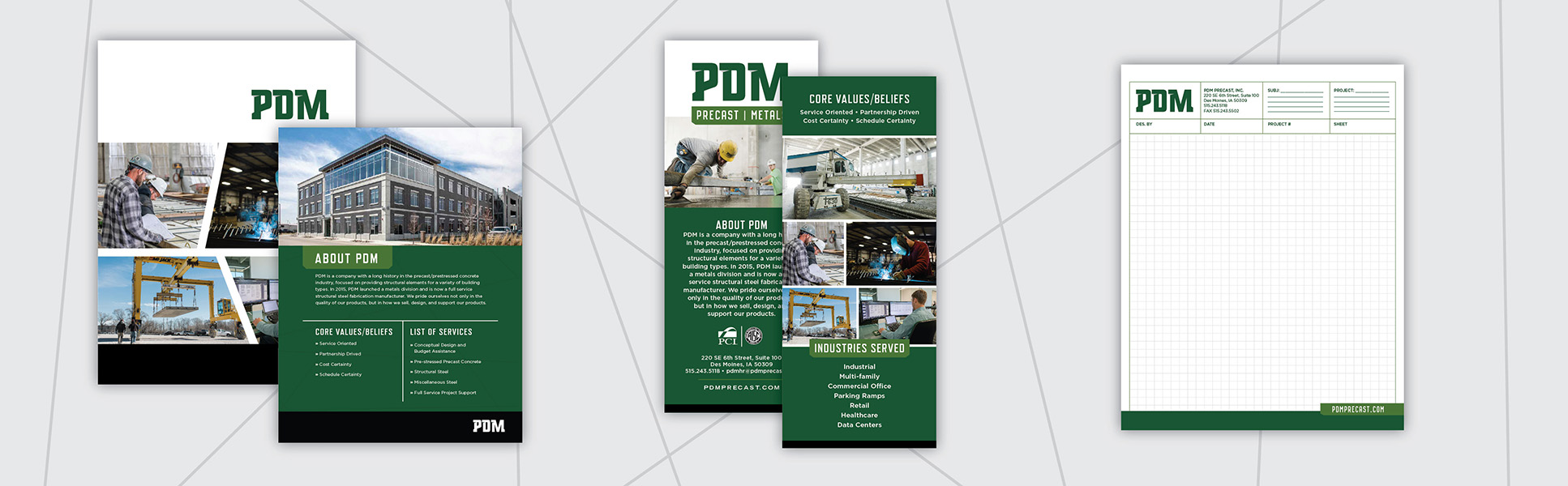 PDM sales sheets, rack cards and graph paper pad designed by Project7 Design