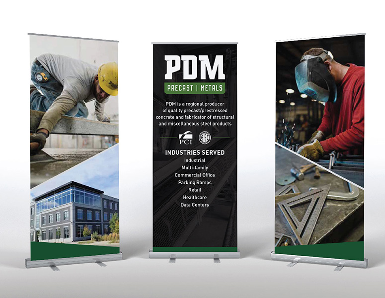 Three PDM trade show banners designed by Project7 Design