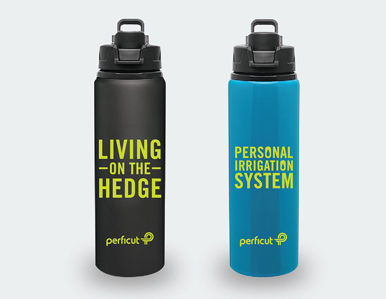 "Black and teal Perficut branded water bottles reading ""Living on the Hedge"" and ""Personal Irrigation System"""