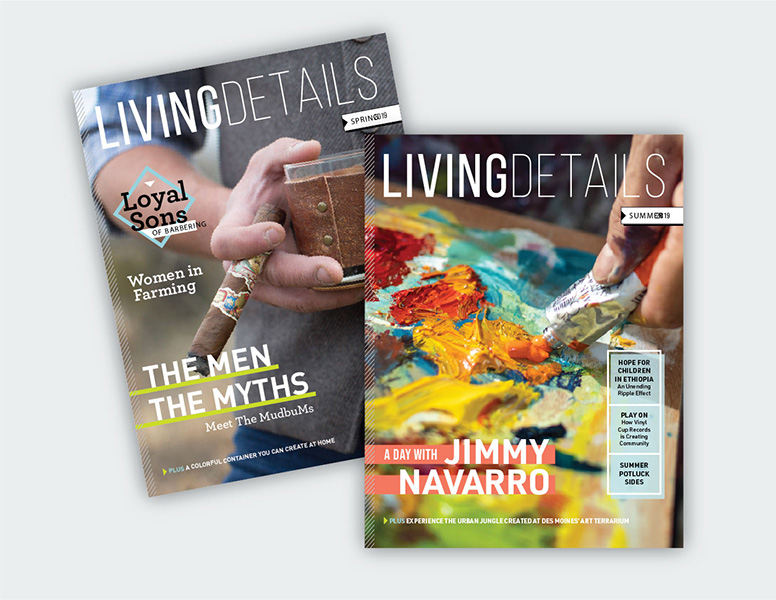 Two issues of Living Details Magazine, produced by Perficut and designed by Project7 Design