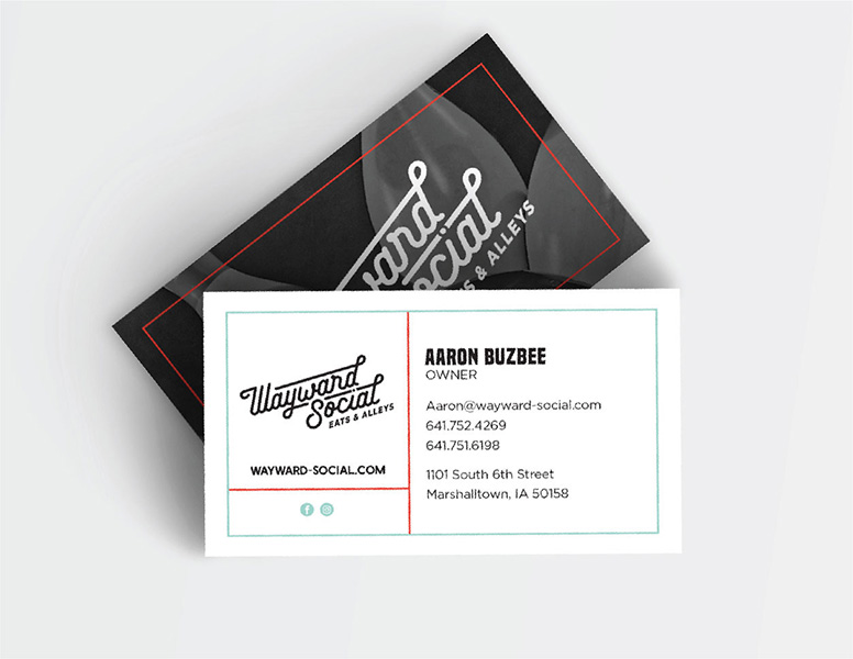 Business cards for Wayward Social designed by Project7 Design
