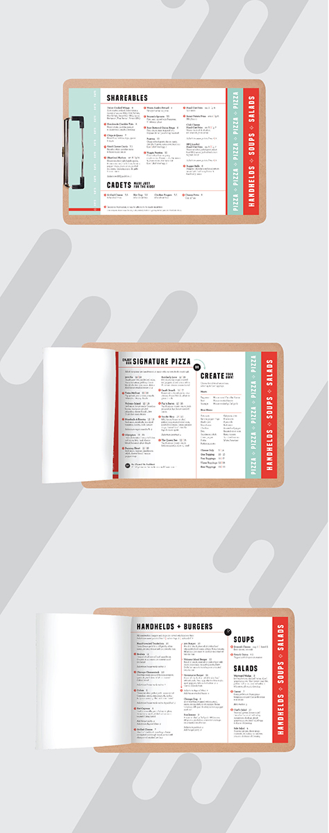 Three pages showing the menu for Wayward Social's restaurant