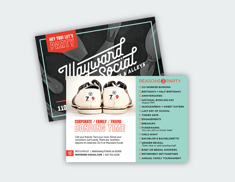 Branded postcard for Wayward Social private parties designed by Project7 Design