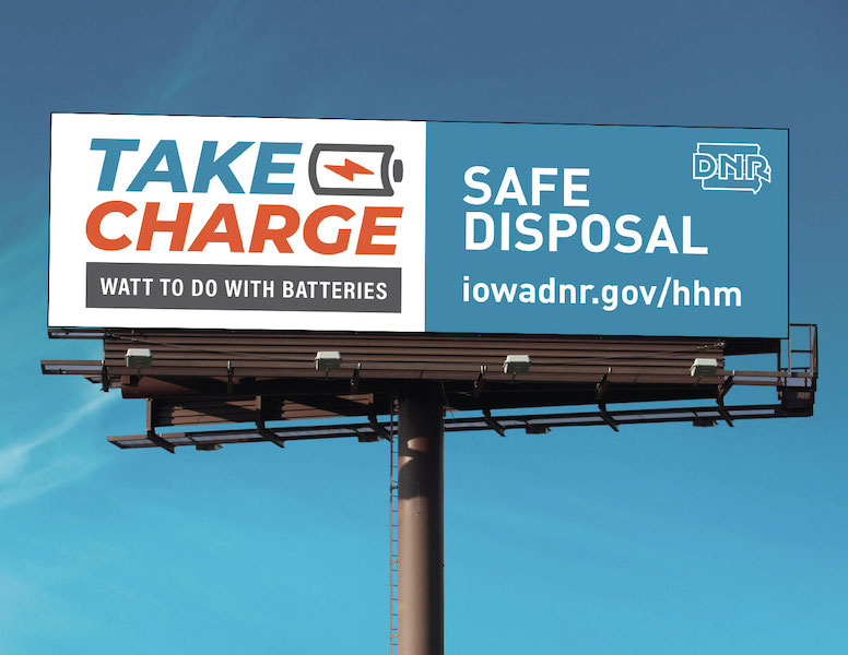 Iowa Department of Natural Resources Take Charge campaign billboard