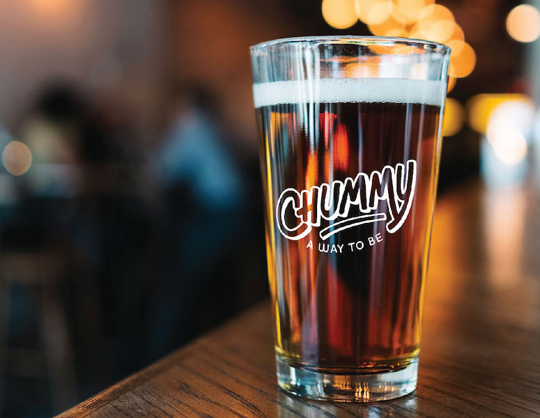 Chummy branded beer glass on a counter
