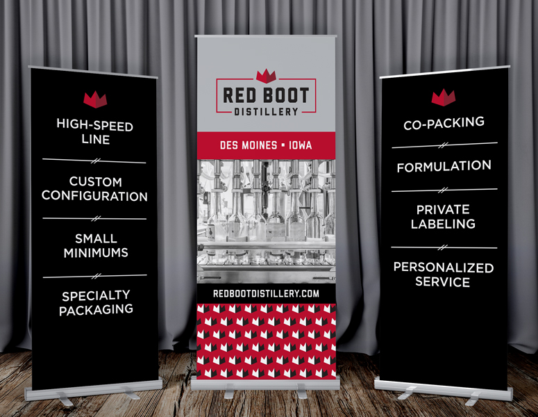 Three branded tradeshow banners for Red Boot Distillery