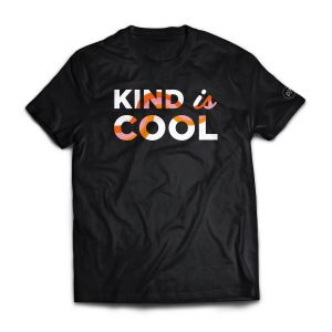 Black T-shirt that says Kind is Cool
