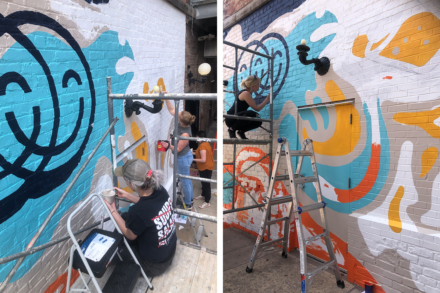 Two images of people standing on scaffolding painting a mural on a brick wall