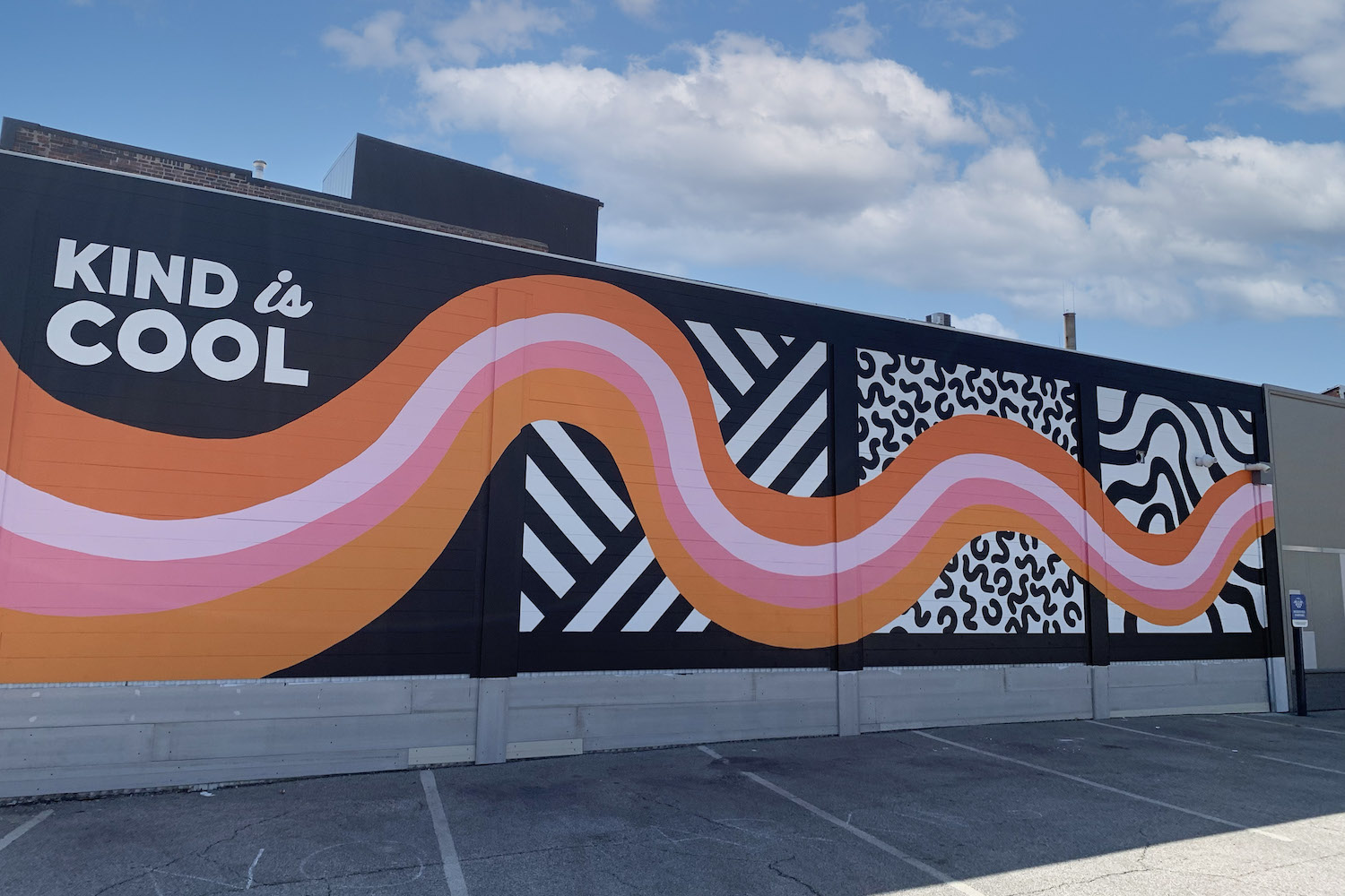 Kind is Cool mural at Project7 Design in Des Moines, Iowa